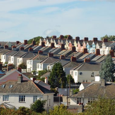 Distance shot photo of houses in Plymouth, England, UK.